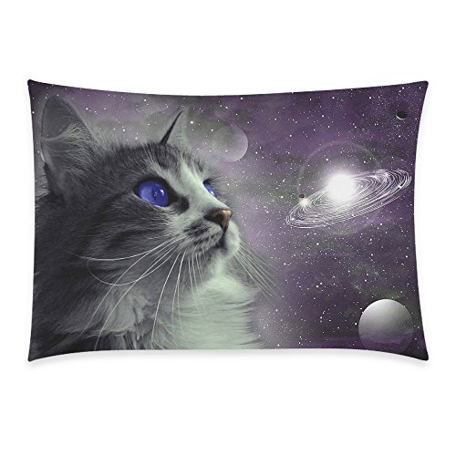 InterestPrint Universe Nebula Galaxy Outer Space Cat Pillowcase Standard Size 20 x 30 Inches One Side - Funny Cat Blue Eyes in Earth Planet Globe Solar System Pillow Cases Cover Shams Decorative