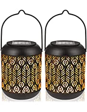 LeiDrail Solar Lantern Lights Outdoor Tabletop Yard Décor for Party Table Pathway Garden Yard Sun Powered LED Hanging Lighting Metal Waterproof Landscape Lighting with Handle- 2 Pack