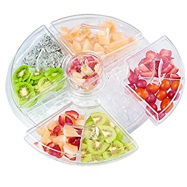 Chill-It 8 Section Appetizer Tray With Lids + Dip Cup On Ice (16.5  Diameter x 5  High) With Removable Compartments - BPA-Free Crystal Clear Acrylic Chilled Serving Party Platter Dish, Serve Cold Food Indoors & Outdoors, Fruit, Veggies, Meat, Seafood