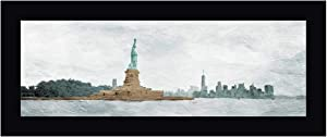 "New York State of Mind by OnRei - 11"" x 24"" Black Framed Canvas Art Print - Ready to Hang"