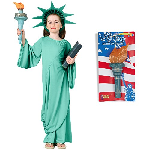 Statue of Liberty Costume Bundle Set - Child Medium Costume and Torch -