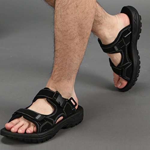 Yiiquan Sportivi Sandali Acqua Per Spiaggia Da Casual Uomo Coreano Estivi Scarpe Nero Traspirante Sandalo wrB5w