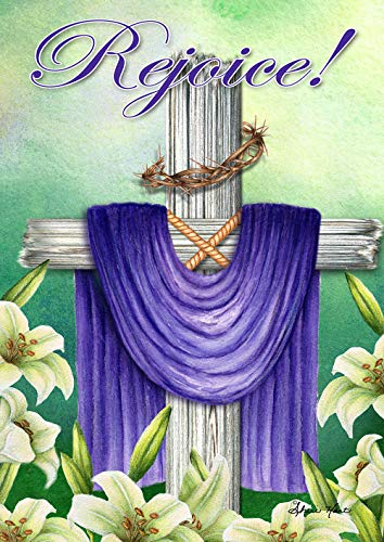 Toland Home Garden 1012304 Rejoice Cross 28 x 40 Inch Decorative, Spring Easter Crown of Thorns Double Sided House Flag