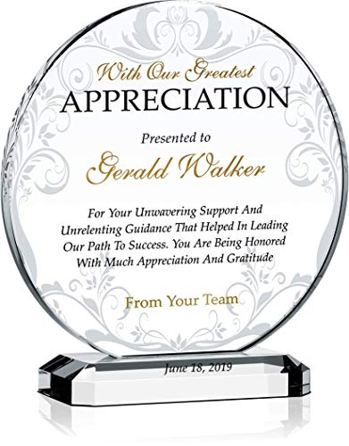 Personalized Appreciation Award Plaque for Mentor, Coach, Boss, Manager, Board Member, Board Director, Customized with Recipient Name and Date, Unique Thank You Gift Plaque (M - 6.5