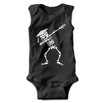 WACEREABLE DAB Skeleton Dabbing Student Pass Exam For Newborn To 24 Months Unisex Baby Onesies Outfits Black
