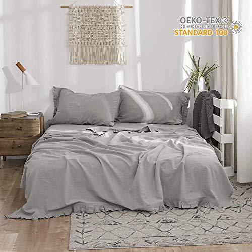 - Simple&Opulence Belgian Linen Sheet Set 4PCS Solid Color Ruffles Flouncing(Full,Grey)