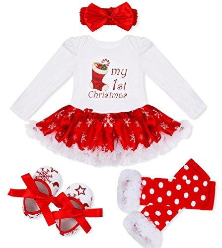 TiaoBug 4Pcs Baby Girls Christmas Tutu Romper with Headband Leg Warmer Shoes Outfits Christmas Stocking 9-12 Months