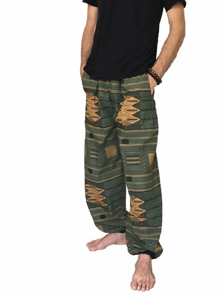 Love Quality Baggy Pants Men's One Size Printed 100% Cotton Harem Pants Hippie Boho (Green)
