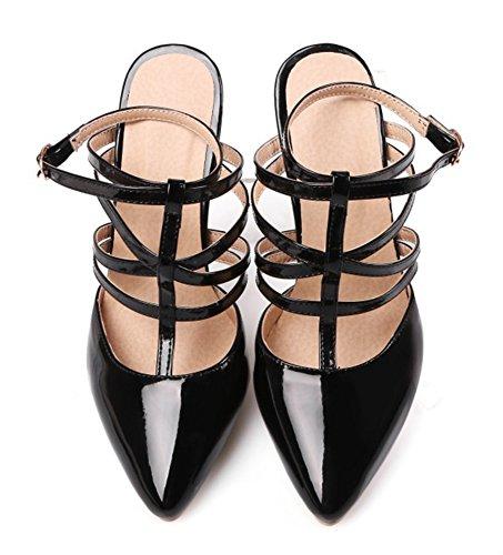 Aisun Femmes Sexy Bout Pointu Gladiateur Robe Slingback Boucle Talons Hauts Talons Sandales Chaussures Noir