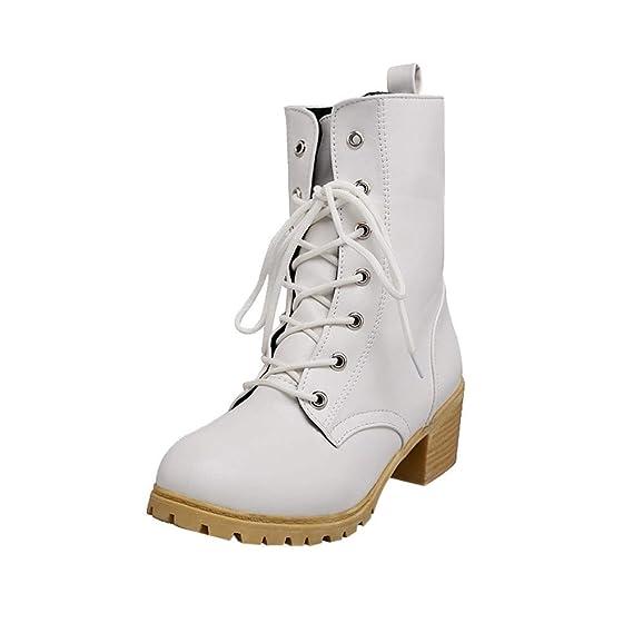 Zapatos combat con correa moda mujer fashion,Sonnena Zapatos de mujer de color sólido de invierno Botas de tobillo de combate Botines calientes Casuals: ...