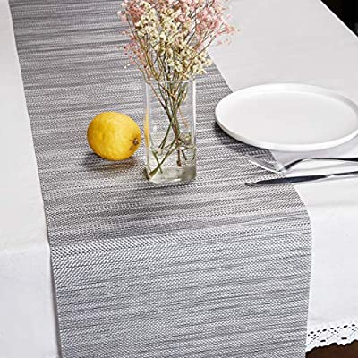 """DOLOPL Table Runner Grey Table Runners Outdoor Table Runner 12""""×72"""" Non-Slip Heat Resistant Easy to Clean Modern Farmhouse Kitchen Table Runner for Patios Family Dinner Office Kitchen Table - Material :The table runner is made of environmental PVC Material, the runner table gray size in 12"""" x 72""""/6 ft(30cm x 183cm), pack of 1 ONLY. Heat Insulation and Non Slip:The Christmas gray table runners are non-slip, heat resistant(Based on ≤150℃), this heat resistant table runner can protect your table, decor your home with the durable farmhouse table runner. Easy to Clean: the modern table runner is easy to clean, just use wet towel or cloth to wipe off, also can use soft brush to clean it. Please don't use washing machine to clean the kitchen table runner. - table-runners, kitchen-dining-room-table-linens, kitchen-dining-room - 51SWD5gUv9L. SS400  -"""