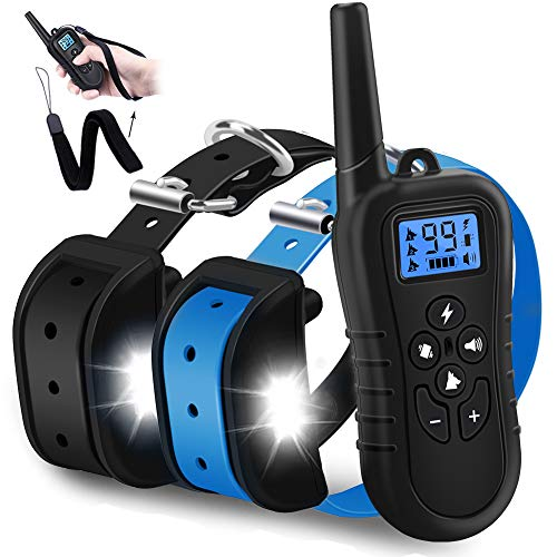 WDFZONE New 2020 Dog Training Collar with Remote for 2 Dogs Waterproof Rechargeable Range 1500 Ft Shock Collar with Remote for Small Medium Large Dogs