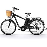 NAKTO 26' City Electric Bicycle and Assisted Bicycle for Men with Removable 36V 10A Large Capacity Lithium Battery and Charger(Black) (26' Spark-MBlack)