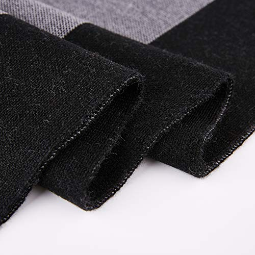 Taylormia Men's Winter Cashmere Scarf - Warm Soft Gentleman Knit Scarves Black Grey by Taylormia (Image #6)