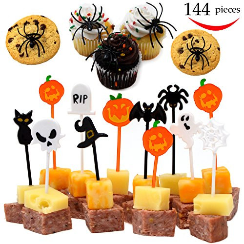 144 Pieces Halloween Appetizer Picks and Spider Ring Cupcake Toppers for Halloween Party Supplies Halloween Party Decorations Halloween Food by Spooktacular Creations
