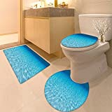 3 Piece Toilet lid cover mat set Collection Tropica Beach Vie with Exotic Palm and Clean Sand the Sea Hawaii Style Pa Very Absorbent Bathroom Bath Mat Contour Rug
