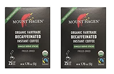 Mount Hagen - DECAFFEINATED Organic Instant Coffee Freeze Dried 25 Single Serve Packets- 1.76 Oz Each , (Pack of 2)