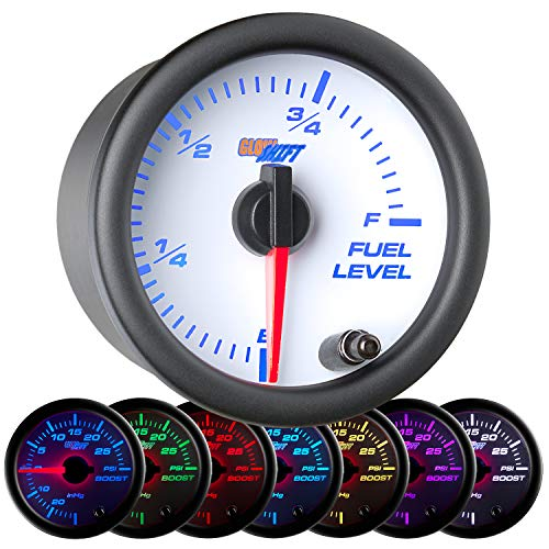GlowShift White 7 Color Adjustable Fuel Level Gauge - White Dial - Clear Lens - For Gas & Diesel Vehicles - 2-1/16