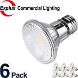 Full-Glass DIMMABLE LED PAR20 LED Bulbs, Weather-proof Indoor/Outdoor 6.5W (50 Watts Equivalent) LED PAR20 Light Bulbs, Flood Light, 3000K Soft Warm White, (Pack of 6)