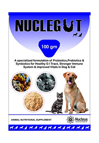 NUCLEGAT Feed Supplement for Healthy Digestive Tract, Strong Immune System and Improved Vitals in Dog and Cat, Contains Prebiotics, Probiotics and Synbiotics (100 gm)