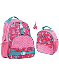 Stephen Joseph Girls Princess Backpack and Lunch Box with Zipper Pull Charm