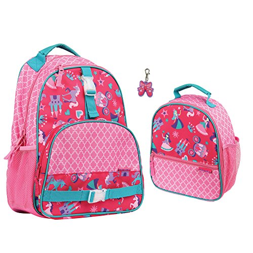 Stephen Joseph Girls Princess Backpack and Lunch Box with Zi