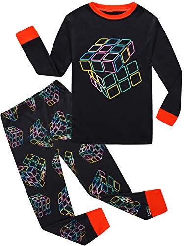 (Boys Pajamas Rubiks Cube Toddler Pjs 2 Piece Sets 100% Cotton Christmas Clothes Kids Sleepwear)