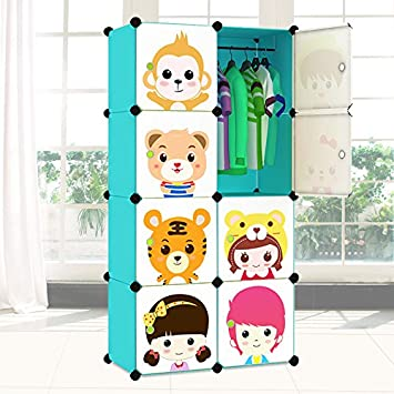 WJP Fácil de plástico Armario fácil combinación de Resina Verde DIY Armario vestidor Armario niños: Amazon.es: Hogar