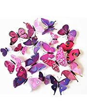 3D Magnetic refrigerator sticker wall decal simulation butterfly PVC material purple red 12pcs a set