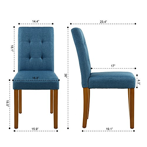 LSSPAID Classic Fabric Parson Dining Chairs with Solid Wood Legs,Set of 4 Blue
