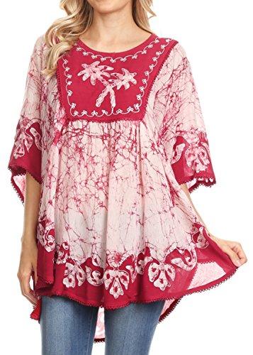 Sakkas 17030 - Lynda Two Tone Batik Embroidered Palm Tree Peasant Top/Poncho - Raspberry - OS