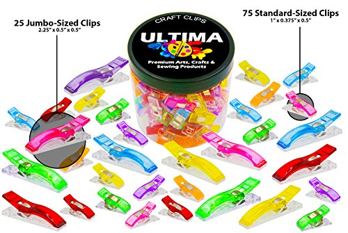 100 Craft Clips - 25 Jumbp Clips and 75 Standard - Multicolor Plastic Sewing Clips for Crafting and Quilting - Vibrant Colors - Sewing, Craft, Crochet, Knitting Sewing And Knitting