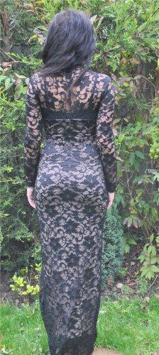 Desire Clothing Maxi festonné Noir Cou contrasté en dentelle pour mariage Robe de soirée formelle