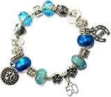 Charm Buddy 50th Birthday Good Luck Lucky Blue Silver Pandora Style Bracelet With Charms Gift Box Jewelry