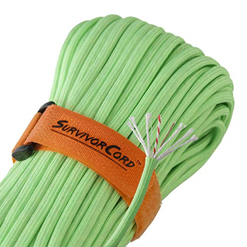 Titan SurvivorCord | Zombie-Green | 103 Feet | Patented Military Type III 550 Paracord/Parachute Cord (3/16'' Diameter) with Integrated Fishing Line, Fire-Starter, and Utility Wire. by Titan Paracord (Image #1)