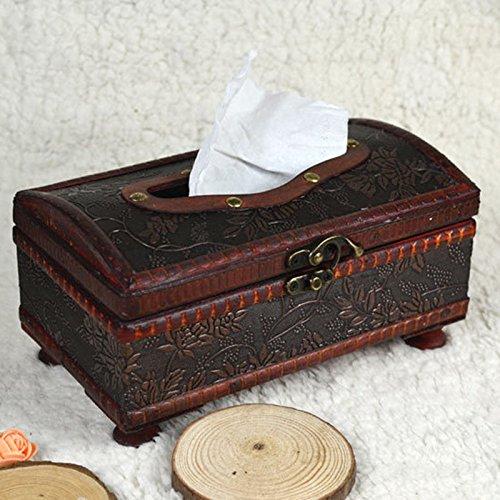 Retro Wooden Tissue Box Rectangular Paper Cover Case Napkin Vintage Holder Gift