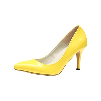Rivazo Women's Neon Yellow PU Casual Heels Pumps -41: Buy Online ...