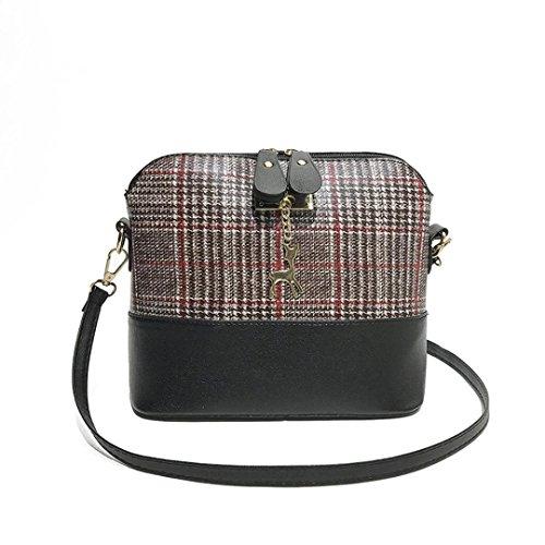 JIANGFU Mode Damen kämpfen Gitter Shell Hirsch [Schulter Messenger Bag], Neue Frauen Messenger Bags Vintage Kleine Shell Leder Handtasche Casual Paket (Black) Red