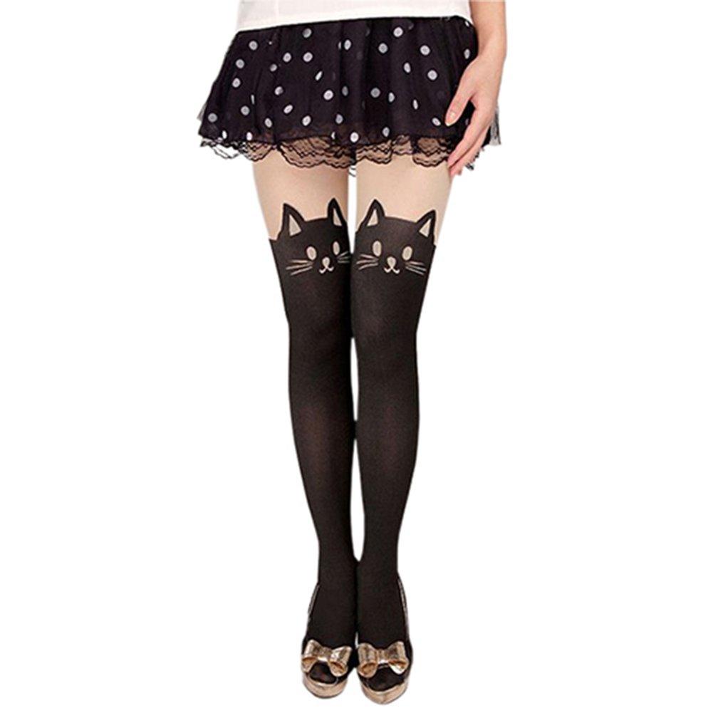 Bluelans Cute Black Tattoo Long Socks Sheer Cartoon Cat Pantyhose Stockings Tights