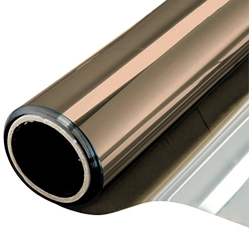 One Way Window Film Daytime Privacy Static Cling Self Adhesive House Film Glass Window Tint Heat Control Mirror Film Brown & Silver 6 Mil 23.6 Inch x 32.8 Feet by WPCTEV