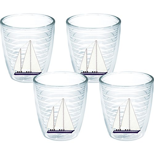 Tervis Blue Sailboat Tumbler (Set of 4), 12 oz, Clear