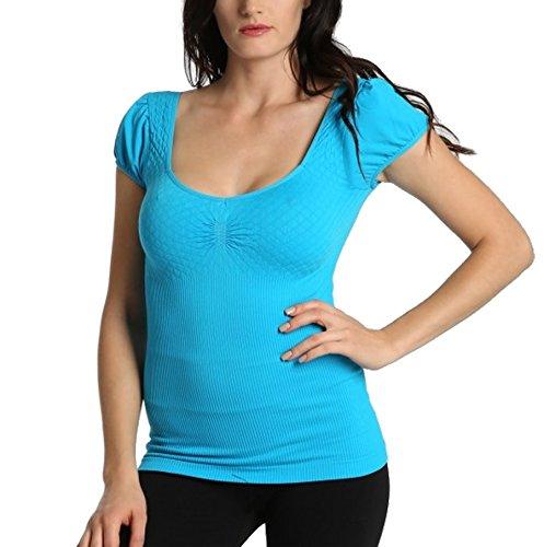 Ekimo Women Seamless Low Cut Scoop Neck Short Sleeve Shirt T-Shirt Top Dress (Sky Blue) (Sky Cut Womens T-shirt)