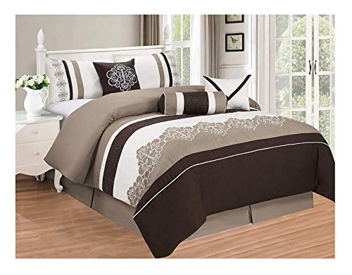 7 Piece King Linens - All American Collection New 7 Piece Embroidered Over-Sized Comforter Set (King, Brown/Beige)