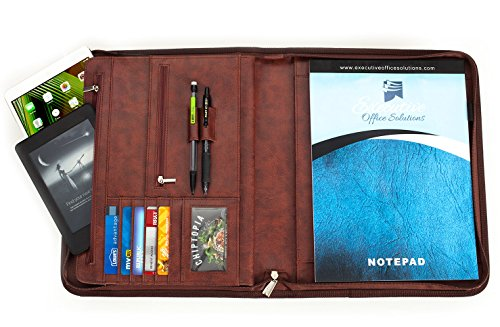 Professional Executive Business Padfolio Portfolio Case - PU Leather Resume & Document Organizer With 10.1 Inch Tablet Sleeve, Zipper, Premium Paper Pad - Deluxe Edition Brown (Document Organizer Deluxe)