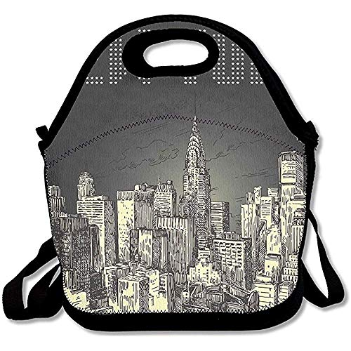 Grunge Pop Art Style Retro NYC Sky with Iconic Empire States Building City Print Handy Portable Zipper Lunch Box Rugged Lunch Tote Bags