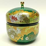 Japanese tea canister tin Suzuko / double lid / air-tight / 3.5 oz (150g) green tea (green)