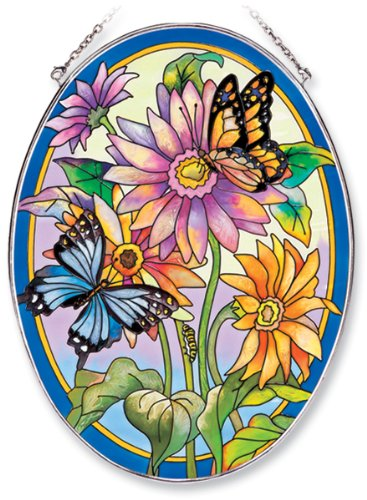 Amia Oval Suncatcher with Daisy and Butterfly Design, Hand Painted Glass, 6-1/2-Inch by 9-Inch ()