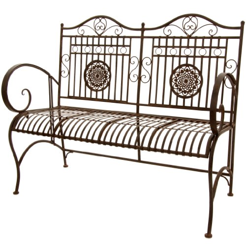 Oriental Furniture Rustic Metal Garden Bench - Rust Patina (Furniture Rustic Old Garden)