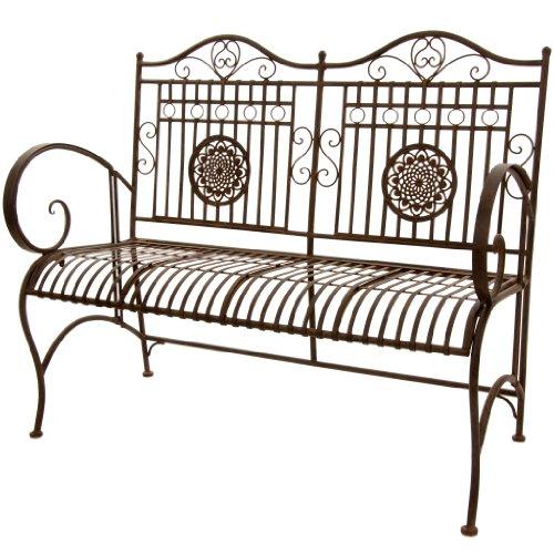Oriental Furniture Rustic Metal Garden Bench - Rust Patina (Furniture Garden Rustic Old)