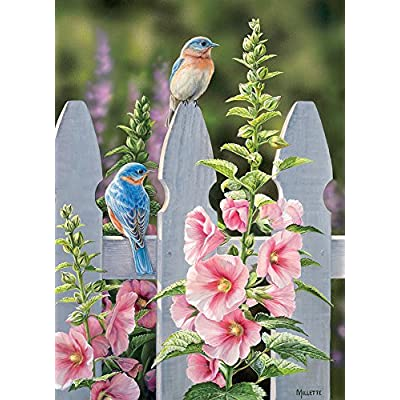 Cobblehill 80009 1000 pc Bluebirds and Hollyhocks Puzzle, Various: Toys & Games